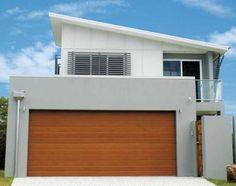 Garage Design Ideas by ASI Garage Doors & Automatic Opener Specialist Garage Door Colors, Garage Door Styles, Exterior House Colors, Garage Design, Door Design, House Design, Timber Garage Door, Carport Garage, Rendered Houses