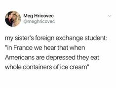 Shared via Thunder Dungeon App>>>is that true though, I'm from Eroup and Inrally don't know if it's true or not>>>yes, it's incredibly common for americans to eat icecream as a comfort food. Eating an ENTIRE container is more of a tv trope though Funny Relatable Memes, Funny Tweets, Funny Posts, Funny Cute, The Funny, Hilarious, People Twitter, Mike Wazowski, My Guy