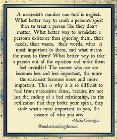 Narcissism and neglect Narcissistic People, Narcissistic Behavior, Narcissistic Abuse Recovery, Narcissistic Sociopath, Narcissistic Personality Disorder, Trauma, Relationship Quotes, Life Quotes, Manipulative People