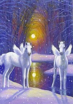 2015/04/27 Foals pegasus winter snow sun fantasy limited edition aceo print art - Etsy $8.99 USD