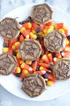 Super simple and SO fun! These peanut butter spider crackers are the perfect after school snack or healthy party treat! Slather your ritz crackers in delicious peanut butter. Butter Crackers, Ritz Crackers, Bbq Ribs, Bbq Pork, Baking Cupcakes, Cupcake Recipes, Chocolate Peanut Butter, Melting Chocolate, Halloween Snacks