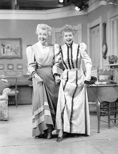 "Lucille Ball & Vivian Vance dressed as Victorian women in ""Pioneer Women"" from I Love Lucy."
