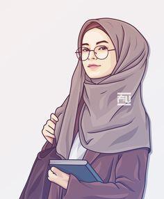 contoh karakter kartun hijab yang unik dan menarik - my ely Cartoon Girl Images, Girl Cartoon, Cartoon Art, Hijab Anime, Anime Muslim, Cute Muslim Couples, Muslim Girls, Cover Wattpad, Portrait Vector