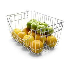 Organise produce in your refrigerator using this stackable basket that also serves as a space-saving solution. Large Baskets, Pantry Organization, Mango, Chrome, Fruit, Refrigerator, Food, House, Baskets