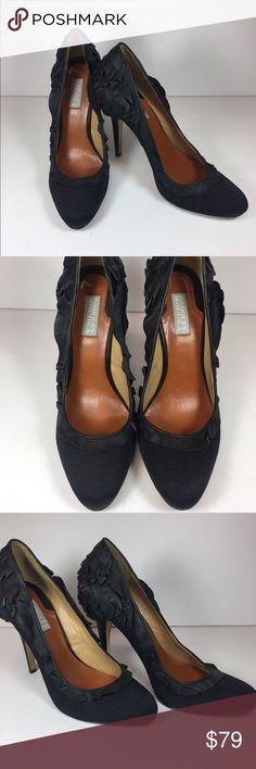Badgley Mischka Black Tai Pumps sz9.5 Cute black round toe pumps with ruffle trim. In great condition. Sz. 9.5 Badgley Mischka Shoes Heels