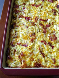 Oh YUM!  Wasn't really sure with the cottage cheese in here but it was SUPER yummy!  Big hit at our MOPS meeting!  Breakfast Casserole with Bacon