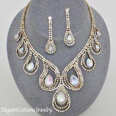 Aurora AB Gold Crystal Necklace Set Prom Formal Bridal Elegant Jewelry $37.99