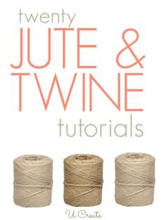 Lots of jute and twine tutorials for your home, packaging ideas, and designs interior design 2012 decorating before and after Burlap Projects, Craft Projects, Craft Ideas, Twine Crafts, Crafts To Make, Diy Crafts, Jute Twine, Diy Décoration, Crafty Craft