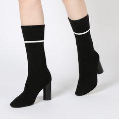 Elliott Sock Fit Stripe Ankle Boots in Black