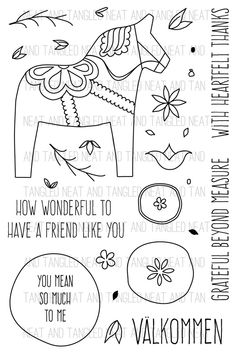 Dala horse pattern. Use the printable outline for crafts