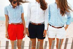 Jacket: Gap Shirt:J.Crew (similar) Shorts: J.Crew Shoes: Sperry Top-Sider Bag: J.Crew Belt: Kiel James Patrick Glasses: Karen Walker Bracelets: Asha ℅, Kiel James Patrick -- Classy Girls Wear Pearls: Blue Shutters Beach