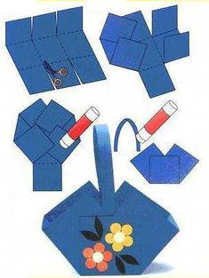 Crafts for preschools : origami tutorial step by step Easter Art, Easter Crafts For Kids, Diy For Kids, Diy And Crafts, Arts And Crafts, Paper Crafts, Diy Ostern, Art N Craft, Paper Basket