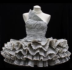 Paper dress made from the pages of telephone books by Kelly Murray