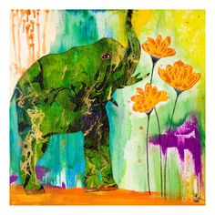 Found it at AllModern - Elephant Color Wash Canvas Art