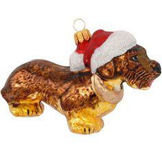Dachshund With Santa Hat Ornament   Bronner's CHRISTmas Wonderland