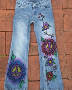 Send in a pair of your favorite jeans and she paints them as such for you! -Hand Painted Custom Peace Jeans for Women & Girls . by lesleymerki, $45.00