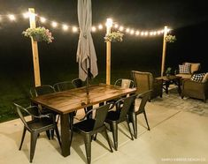 Add Outdoor String Lights on DIY Posts for a beautiful entertaining space and convenient outdoor lighting. Christmas House Lights, Diy Christmas, Backyard Patio, Backyard Ideas, Patio Ideas, Outdoor Ideas, Garden Ideas, Sunroom Ideas, Outdoor Decor