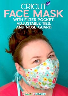 DIY Face Mask Patterns - Filter Pocket & Adjustable Ties! - Jennifer Maker Cricut Face Mask Pattern with Filter Pocket, Adjustable Ties, and Nose Guard - Free Printable Pattern and SVG Cut File for Cricut<br> Learn how to use our free face mask patterns and make your own masks with the help of a Cricut Explore or Cricut Maker … or just cut these by hand! Calling all sewists! My brother-in-law Chad (who is a respiratory therapist at the hospital I was born at) just called me about making… Sewing Patterns Free, Free Sewing, Sewing Tutorials, Sewing Hacks, Sewing Tips, Sewing Projects, Pattern Sewing, Free Pattern, Easy Face Masks