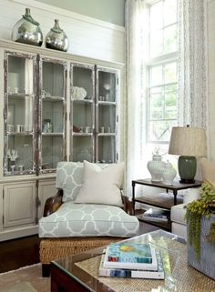 Suzie: Barclay Butera - Cottage living room withs age green walls paint color, vintage ...