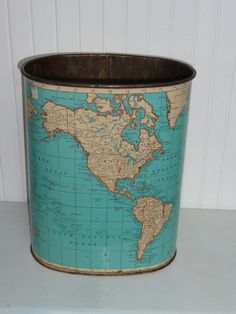 Vintage Metal Weibro World Map Waste Paper Basket Trash Can, Turquoise Map of the World - Vintage Travel Trailer and Home Decor