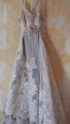 chantilly lace vintage wedding gown repurposed redux redesigned - how pretty is this?!   I lovvvve this dress