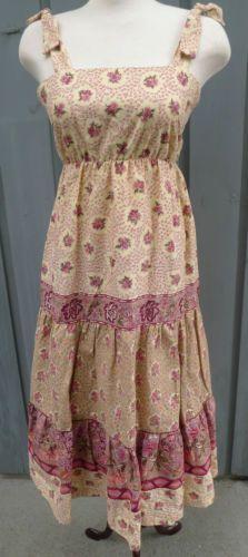 Vintage-1970s-Jonathan-Logan-Sundress-Hippy-BoHo-Cream-Taupe-Pink-Floral-Size-11