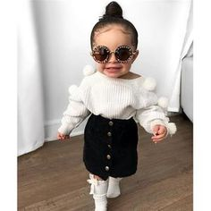 Toddler Baby Kid Girls Clothes Set Cute Pom Pom Sweaters Tops + Skirts Outfits Kid Girls - The Effective Pictures We Offer You About baby born A quality picture can tell you many things. Baby Girl Fashion, Toddler Fashion, Kids Fashion, Winter Fashion, Fashion Ideas, Fashion Clothes, Korean Fashion, Latest Fashion, Fashion Accessories