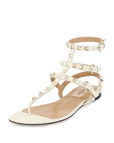 Rockstud+Leather+Gladiator+Sandal,+Light+Ivory+by+Valentino+at+Neiman+Marcus.