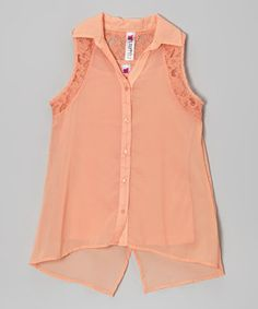 Take a look at this Nectarine Chiffon Button-Up & Tank - Girls on zulily today!