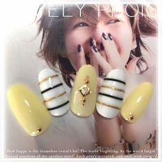 Nails design yellow acrylic 53 Ideas for 2019 Gem Nails, Manicure And Pedicure, Hair And Nails, Shellac Designs, Nail Art Designs, Cute Nails, Pretty Nails, Palm Tree Nail Art, Yellow Nail Art