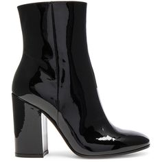 Gianvito Rossi Patent Leather Rolling High Booties (3.076.640 COP) ❤ liked on Polyvore featuring shoes, boots, ankle booties, ankle boots, black, botas, high heel ankle boots, black high heel boots, high heel boots and black patent boots