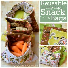 Reusable Snack Bag Tutorial. Reduce waste by using this simple sewing tutorial for DIY flip top snack or sandwich bags. Uses easy straight line sewing with NO snaps or velcro, perfect for beginners.