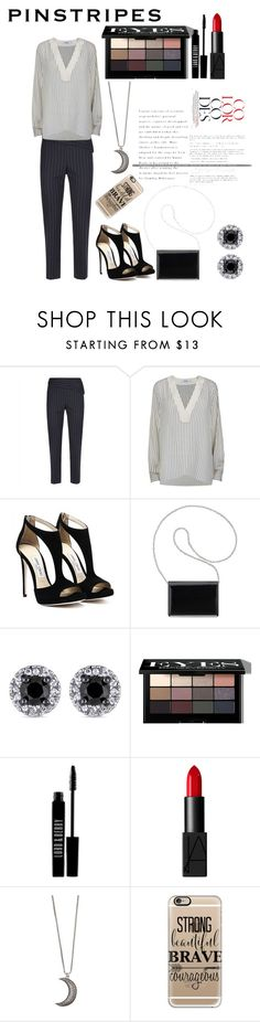 """Pinstripes"" by calbug2003 ❤ liked on Polyvore featuring Jaeger, Gestuz, Nine West, Bobbi Brown Cosmetics, Lord & Berry, NARS Cosmetics, Gypsy Warrior and Casetify"