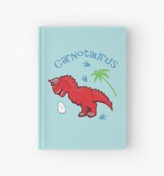 Cute Carnotaurus Hardcover Journal #carnotaurus #red #jurassic #dinosaurs #cute