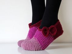 Beautiful hand knit wool slippers for girls. All by balticfrog
