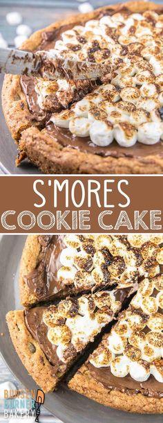 Summer Dessert Recipes, Desserts Menu, Dessert Cake Recipes, Delicious Desserts, Smores Dessert, Smores Cake, Dessert Pizza, Sugar Cookie Cakes, Chocolate Chip Cookie Cake