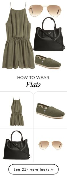 """Trending 555"" by ayannap on Polyvore featuring H&M, TOMS, Ray-Ban and Prada"