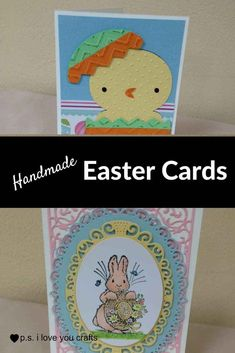 Handmade Easter Card Ideas - Here are some Handmade Easter Cards that I've made using rubberstamps, the Cricut, Copic Markers, Spellbinders, and more! Diy Christmas Gifts, Holiday Crafts, Christmas Cards, Homemade Christmas, Spring Crafts, Easter Crafts, Easter Greeting Cards, Easter Card, Card Making Tutorials