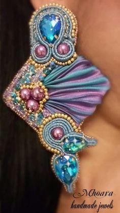 Shibori silk earrings 'Indian Style ' design by Mhoara Jewels