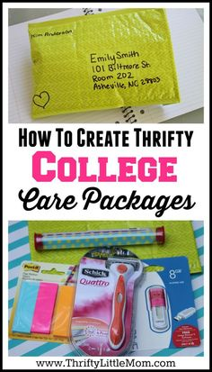 How To Create Thrifty College Care Packages.  If you are looking for ideas for college care packages for boyfriends, college care packages for guys or college care packages for girls this post has lots of tips for making a care package for college that your student will be able to really use and enjoy!  Send a hug in the mail with this thrifty ideas! #Sponsored by Schick #SchickSummerSelfie