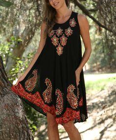 Look at this #zulilyfind! Black & Red Embroidered Swing Dress - Women #zulilyfinds