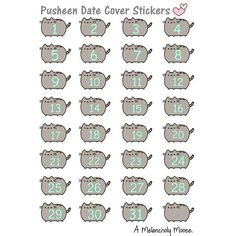 Pusheen date cover stickers printable download for your planner. ~A Melancholy Moose
