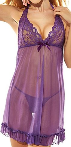 Womens Sexy Babydoll lingerie SetXLPurple *** You can get more details by clicking on the image.