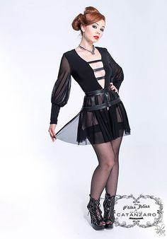 Silhouette, Plunging Neckline, Sexy, Goth, Punk, Lace, Long Sleeve, People, Leather
