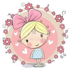 Cute Cartoon Girl and flowers on a pink background