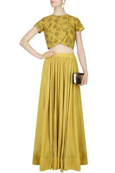 Mustard yellow block printed crop top and skirt set available only at Pernia's Pop Up Shop.