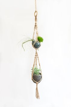 Double Macrame Plant Hanger / 35 Inch / Twine / Home decor by MangoAndMore on Etsy