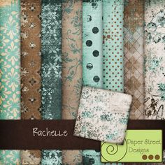 teal, brown, cream, and white. I love how distressed they are!