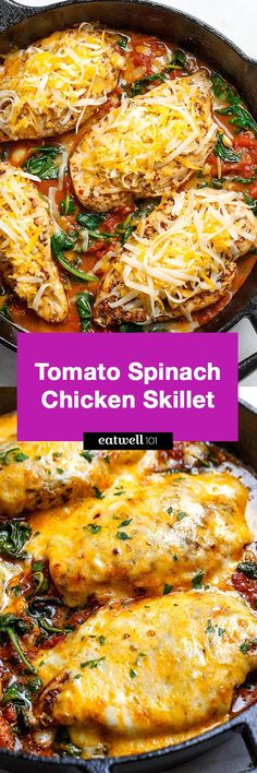 Tomato Spinach Chicken Skillet   - Filling, tasty and comforting -  A nutritious chicken recipe for a low-carb/keto dinner option.