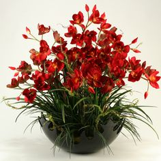 Cymbidium Orchids with Areca Grass in Large Contemporary Bowl